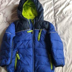 Snozu blue green hooded puffer coat size 2T